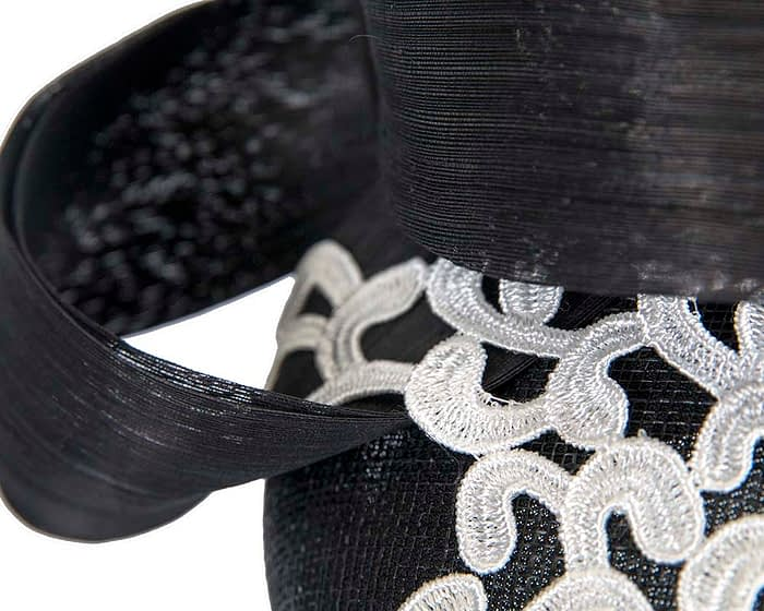 Fascinators Online - Black pillbox fascinator with white lace by Fillies Collection 5