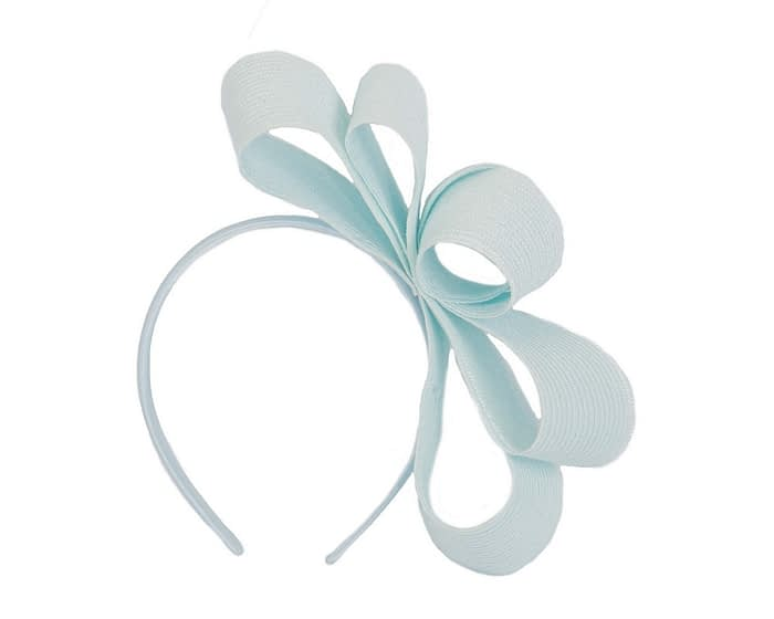 Fascinators Online - Large light blue bow racing fascinator by Max Alexander 2