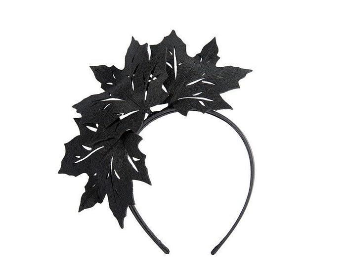 Fascinators Online - Black Laser Cut felt Maple Leaves on a Headband 2