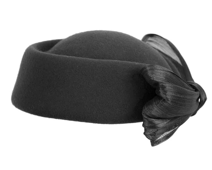 Fascinators Online - Black felt ladies fashion beret hat with bow by Fillies Collection 4
