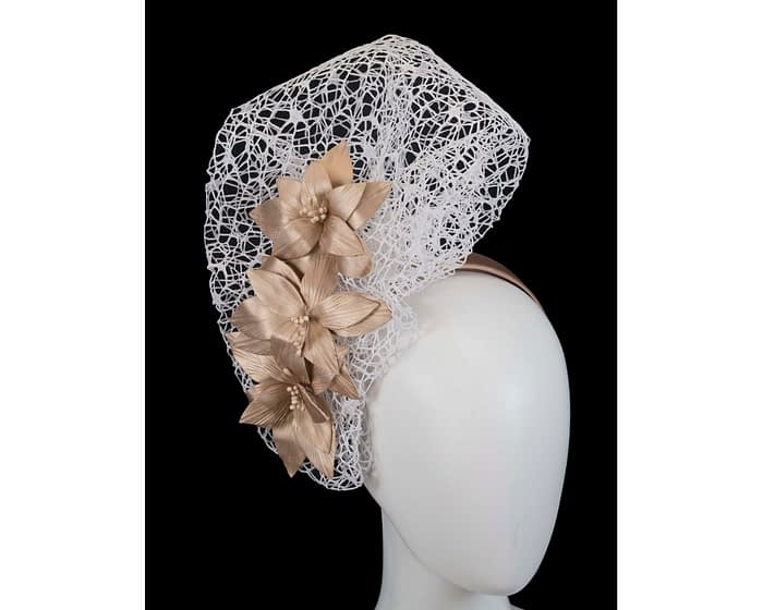 Fascinators Online - White & Gold designers racing fascinator by Fillies Collection 1