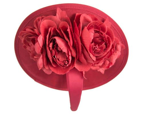 Fascinators Online - Large red plate with flowers by Fillies Collection 6