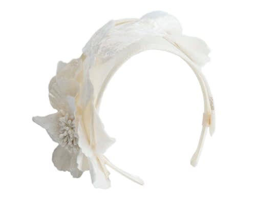 Fascinators Online - Cream flower headband fascinator by Max Alexander 2