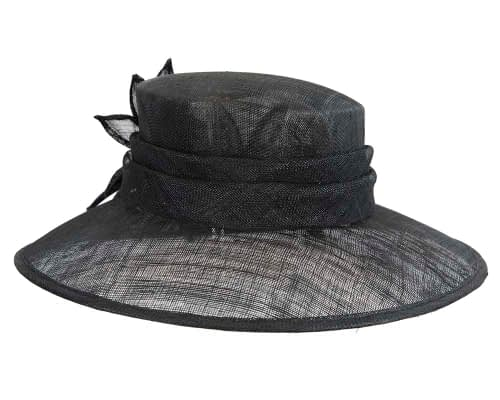 Fascinators Online - Large traditional black racing hat by Max Alexander 3