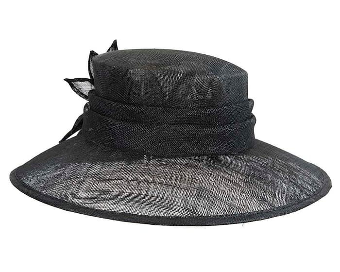 Fascinators Online - Large traditional black racing hat by Max Alexander 3