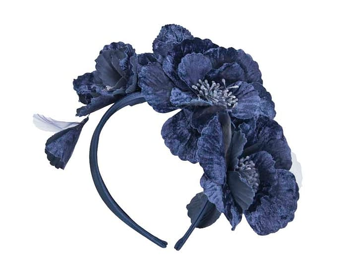Fascinators Online - Navy flowers on the headband 2