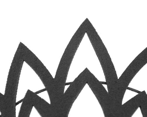 Fascinators Online - Black laser-cut crown fascinator headband 3