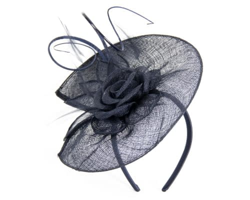 Fascinators Online - Large navy sinamay racing fascinator with feathers by Max Alexander 2