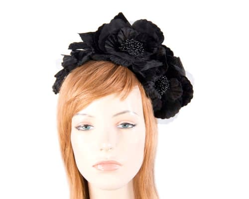 Fascinators Online - Black flowers on the headband 4