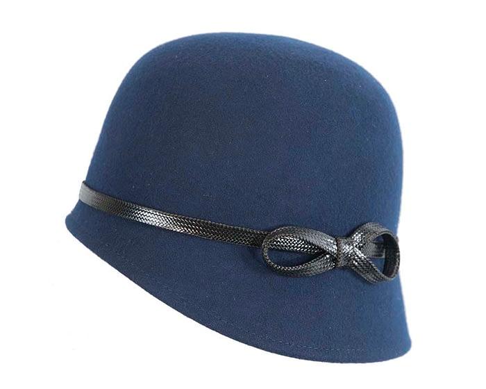 Fascinators Online - Navy felt cloche hat by Max Alexander 2