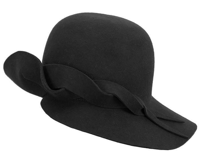Fascinators Online - Unusual black felt wide brim hat by Max Alexander 4