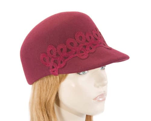 Fascinators Online - Burgundy wine felt ladies cap with lace 5
