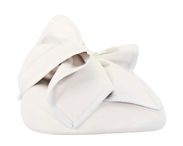 Fascinators Online - White leather pillbox fascinator by Max Alexander 4
