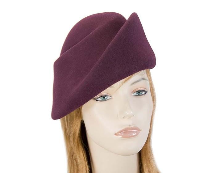 Fascinators Online - Designers burgundy felt hat 1
