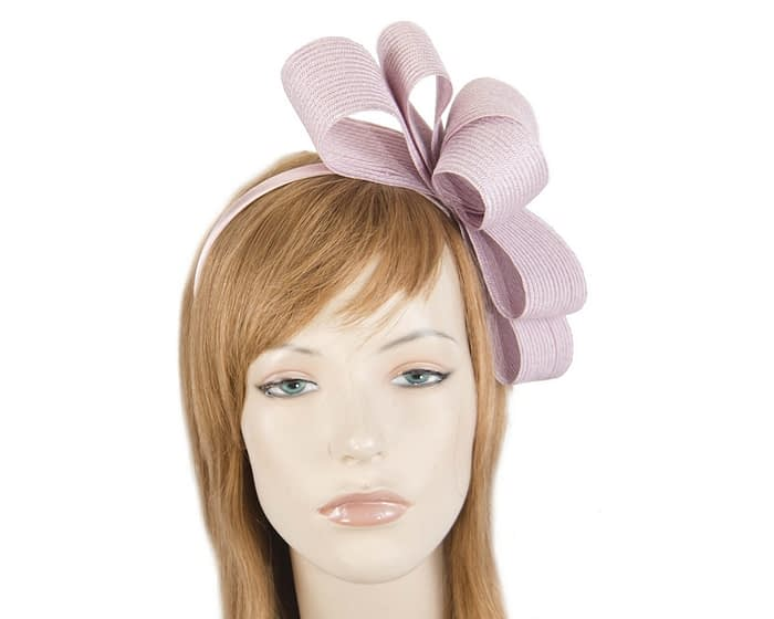 Fascinators Online - Large dusty pink bow racing fascinator by Max Alexander 1