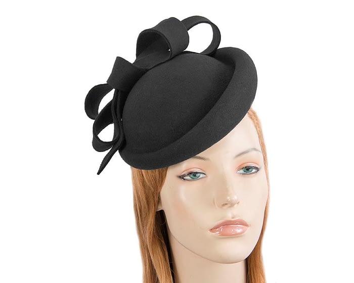Fascinators Online - Large black felt fascinator hat by Fillies Collection 1