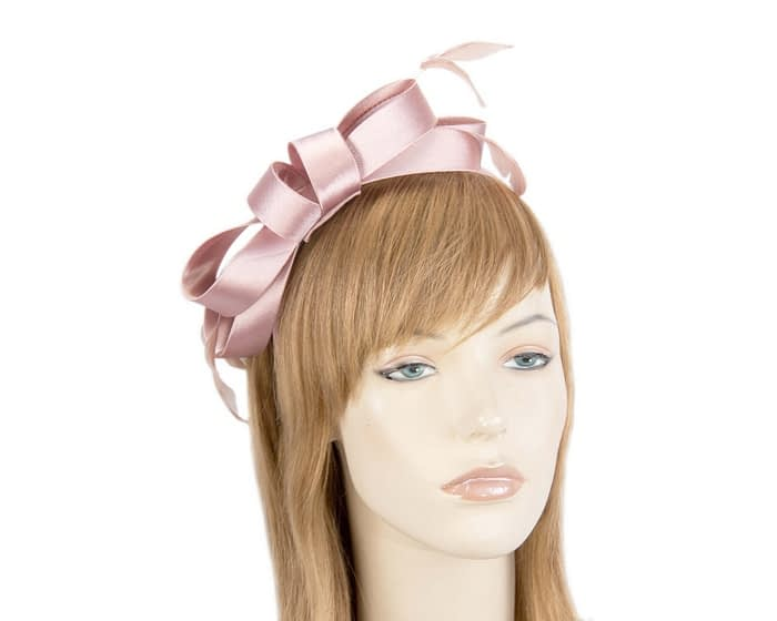 Fascinators Online - Dusty pink satin bow racing fascinator with feathers by Max Alexander 1