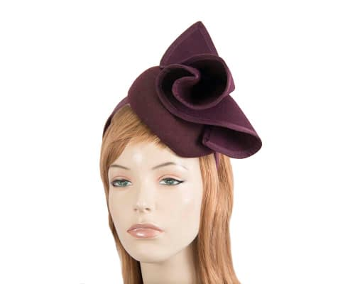 Fascinators Online - Burgundy felt pillbox fascinator by Fillies Collection 100