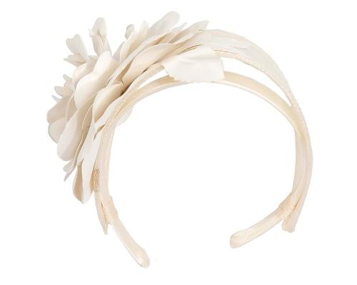 Fascinators Online - Cream leather flower headband fascinator by Max Alexander 4