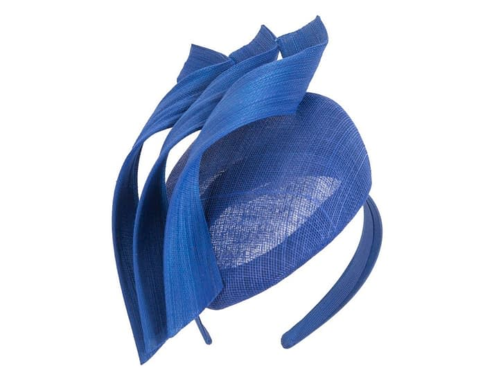 Fascinators Online - Royal blue pillbox racing fascinator with jinsin trim by Fillies Collection 2
