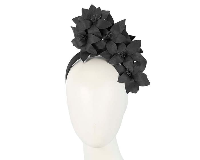 Fascinators Online - Black leather flower headband by Fillies Collection 1