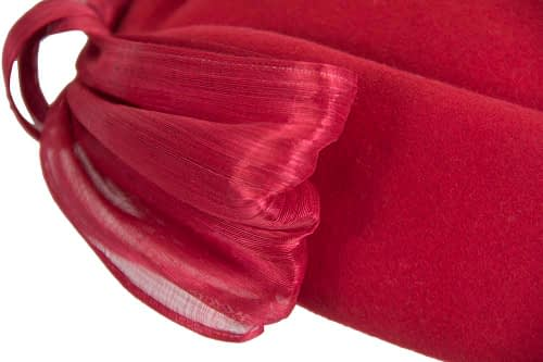 Fascinators Online - Red felt ladies fashion beret hat with bow by Fillies Collection 6