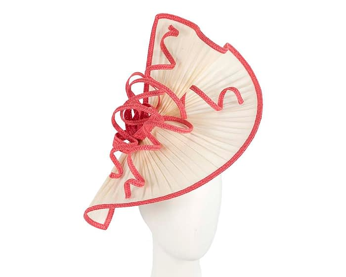 Fascinators Online - Large cream and coral jinsin racing fascinator by Fillies Collection 1