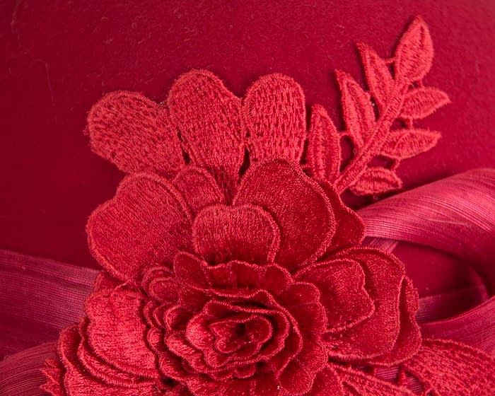 Fascinators Online - Exclusive red felt cloche hat with lace by Fillies Collection 6
