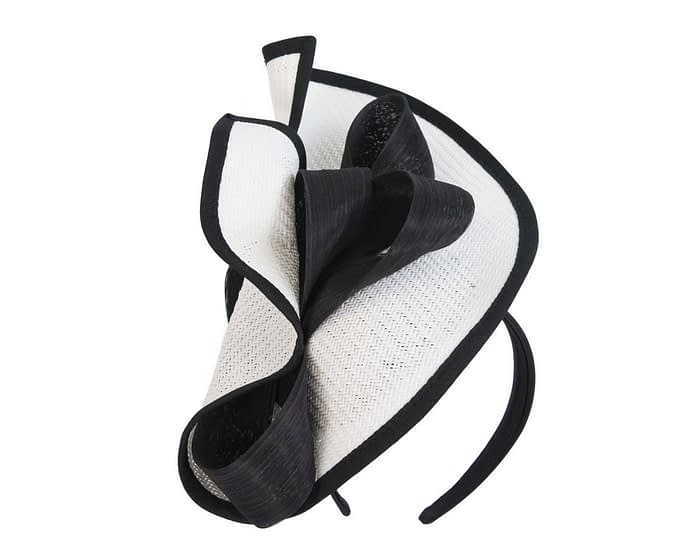 Fascinators Online - White & Black fascinator with bow by Fillies Collection 2