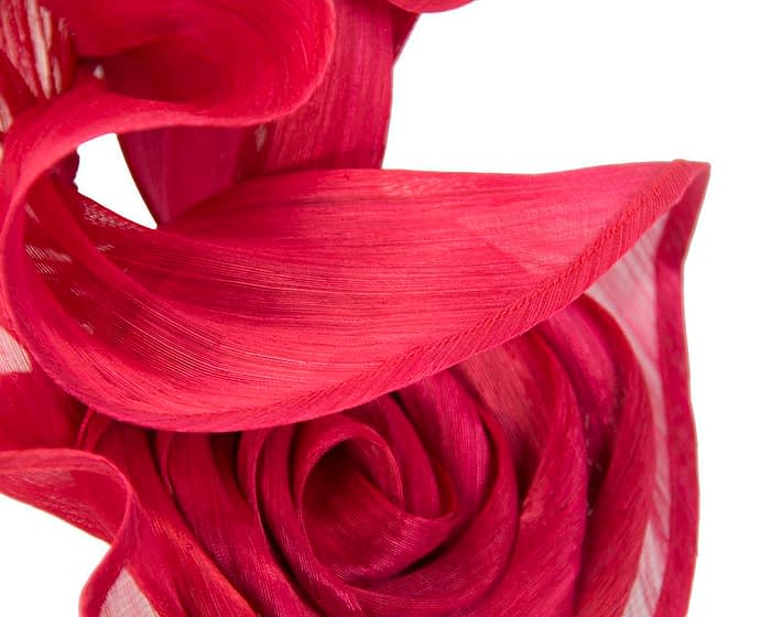 Fascinators Online - Red sculptured silk abaca fascinator by Fillies Collection 3