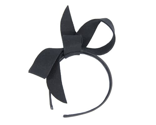 Fascinators Online - Black felt bow winter racing fascinator 2