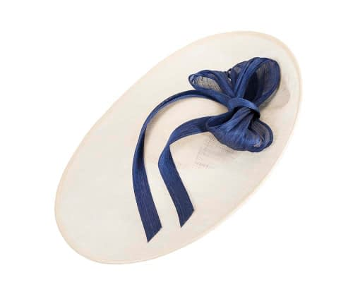 Fascinators Online - Large Cream fascinator hat with Blue bow 2