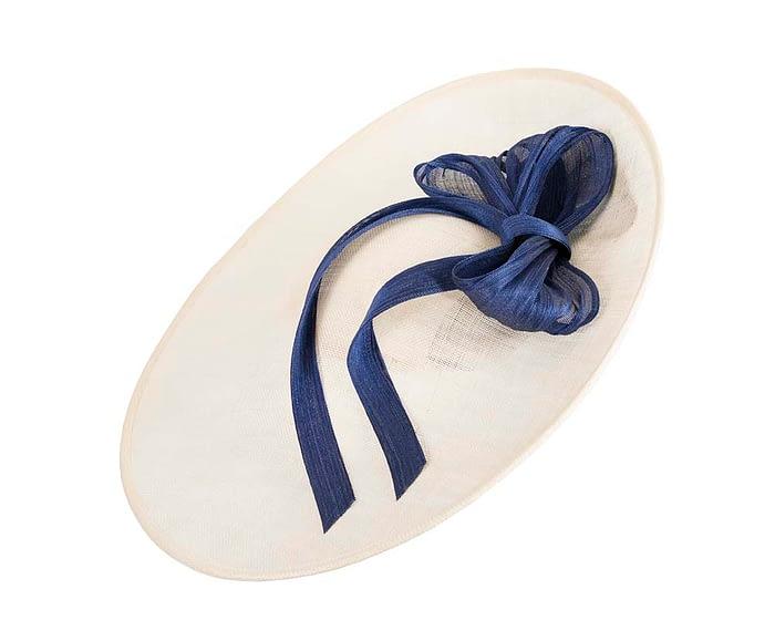 Fascinators Online - Large Cream fascinator hat with Blue bow 2