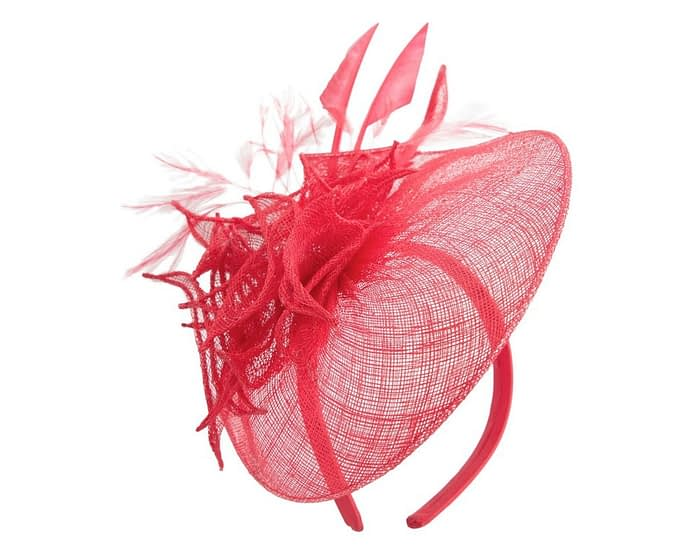Fascinators Online - Red racing fascinator with feathers by Max Alexander 2