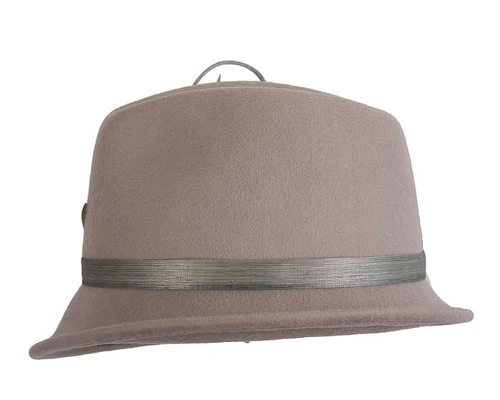 Fascinators Online - Exclusive grey felt trilby hat by Fillies Collection 5