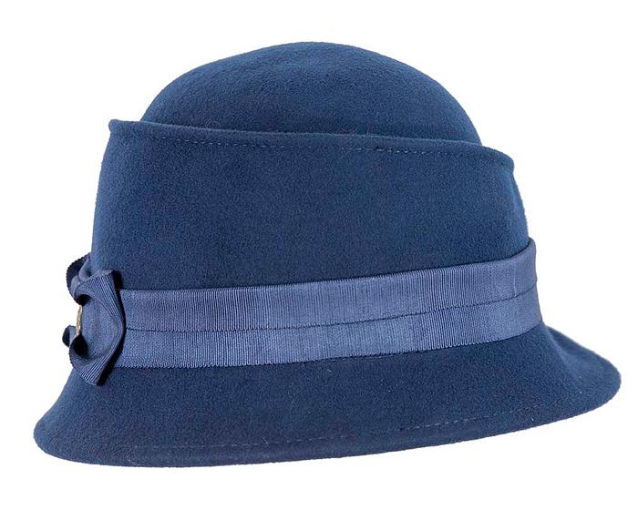 Fascinators Online - Navy ladies felt bucket hat 6