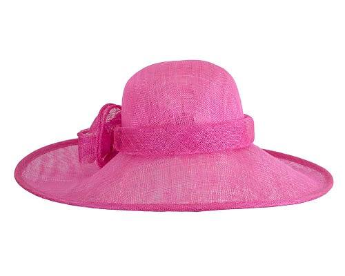 Fascinators Online - Wide brim fuchsia sinamay racing hat by Max Alexander 6
