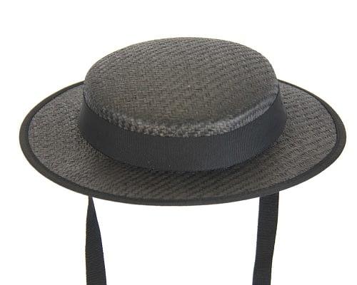 Fascinators Online - Small black boater fascinator hat by Max Alexander 2
