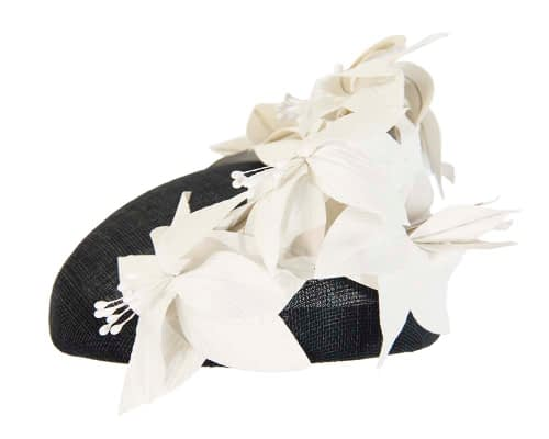 Fascinators Online - Black & cream leather flower pillbox fascinator by Fillies Collection 3