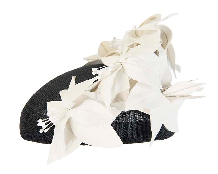 Fascinators Online - Black & cream leather flower pillbox fascinator by Fillies Collection 3