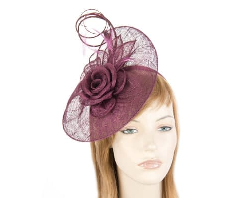 Fascinators Online - Large burgundy wine sinamay racing fascinator with feathers by Max Alexander 1