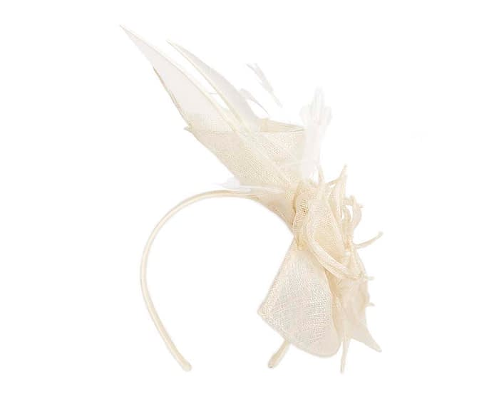 Fascinators Online - Cream racing fascinator with feathers by Max Alexander 4