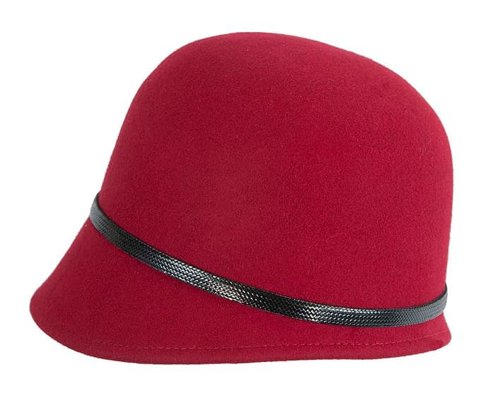 Fascinators Online - Red felt cloche hat by Max Alexander 3