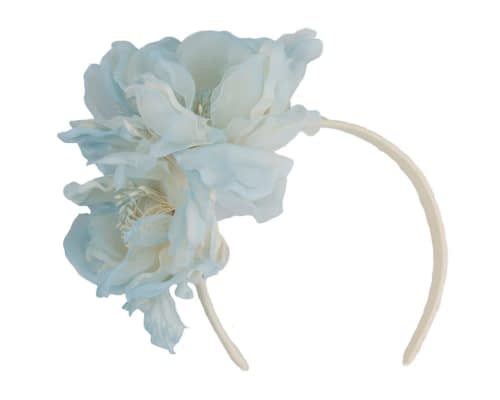 Fascinators Online - Light Blue Silk Flower Fascinator by Fillies Collection 2