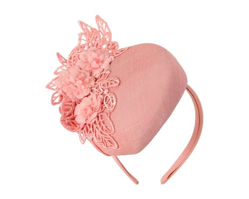 Fascinators Online - Pink pillbox with black lace by Fillies Collection 2
