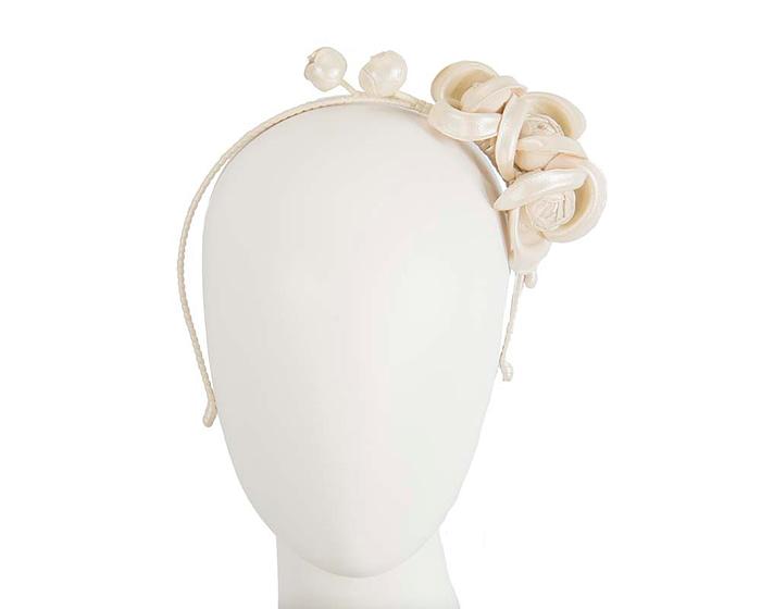 Fascinators Online - Cream leather flowers headband by Max Alexander 1