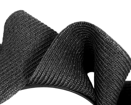 Fascinators Online - Black PU leather crown fascinator by Max Alexander 3