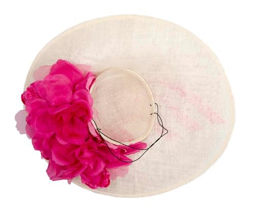 Fascinators Online - Large cream & fuchsia plate racing fascinator by Fillies Collection 6