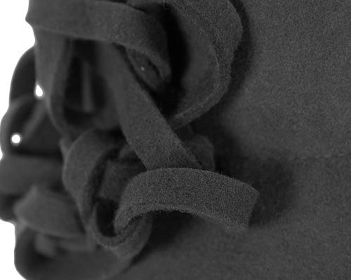 Fascinators Online - Black felt cloche by Max Alexander 5
