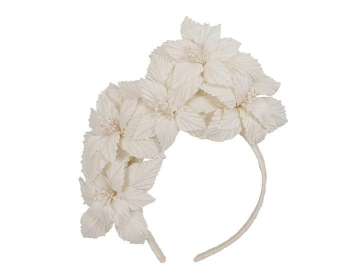 Fascinators Online - Cream sculptured handcrafted flower fascinator by Fillies Collection 2